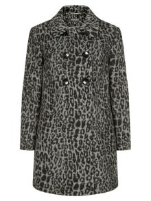 Oversized Animal Print Coat