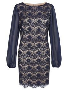 Navy & Champagne Lace Tunic