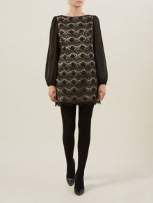 Black & Champagne Lace Tunic