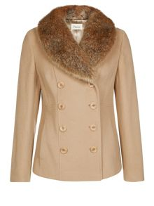 Short Camel Fur Collar Coat