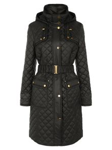 Black Check Quilted Coat