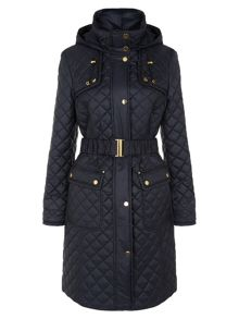 Navy Check Quilted Coat