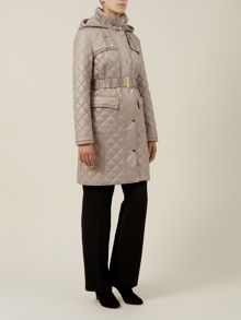 Champagne Check Quilted Coat