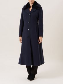 Navy Faux Fur Trim Coat