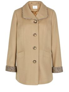Camel Tweed Trim Coat