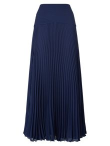 Navy Pleated Maxi Skirt
