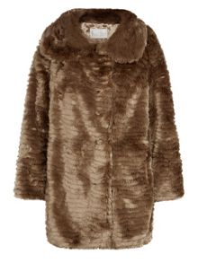 Neutral Faux Fur Coat