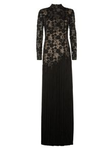 Lorcan Mullany Black Beaded Fringe Gown