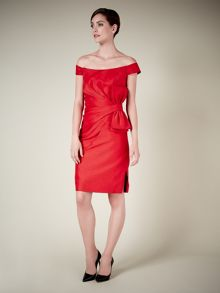 Lorcan Mullany Red Shantung Bow Dress