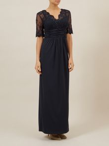 Lace Top Sleeve Evening Dress