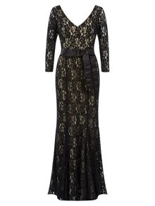 Belted Lace Maxi Gown