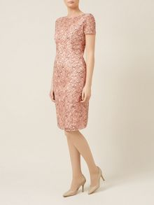 Black peach corded lace dress