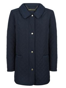 Funnel Neck Quilted Raincoat