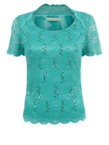 Raglan Seam Jersey Lace Top