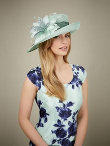 Mesh Feather Flower Hat