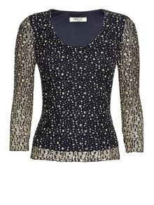 Navy & Yellow Lace Top