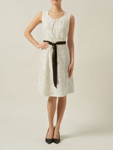 Lace A Line Dress With Belt