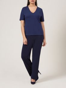 Navy V Neck Basic 3/4 Sleeve