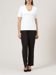 Ivory V Neck Basic 3/4 Sleeve