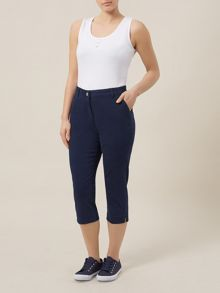 Navy Twill Cropped Trousers