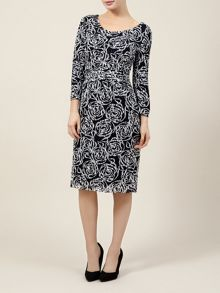 Lace Print 3/4 Sleeve Dress