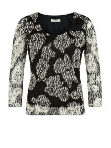 Precis Petite Printed Floral Lace Jersey Top