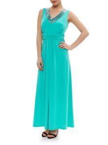 Green Embellished Maxi Dress