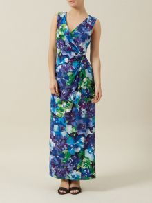 Blue Floral V Neck Maxi Dress