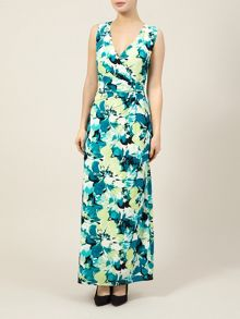 Green Floral V Neck Maxi Dress