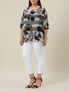 Plus Size Ivory Crop Twill Trouser