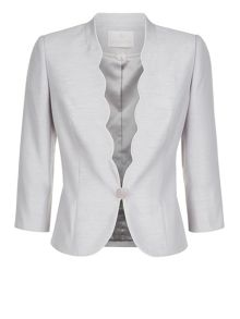 Contrast Trim Scalloped Jacket