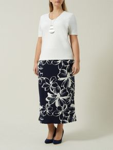 Navy Flower Straight Skirt
