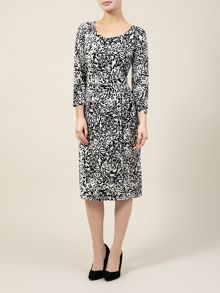 Black And Oyster Print Dress