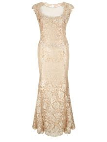 Lace Beaded Evening Dress