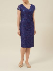Mid length lace evening dress