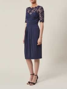 Navy Lace And Jersey Dress