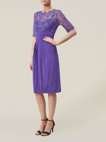 Purple Lace And Jersey Dress