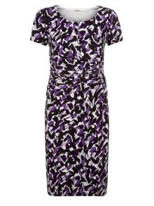 Brushstroke Print Jersey Dress
