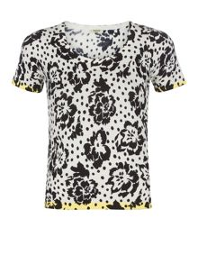 Floral & Spot Printed Knit Top