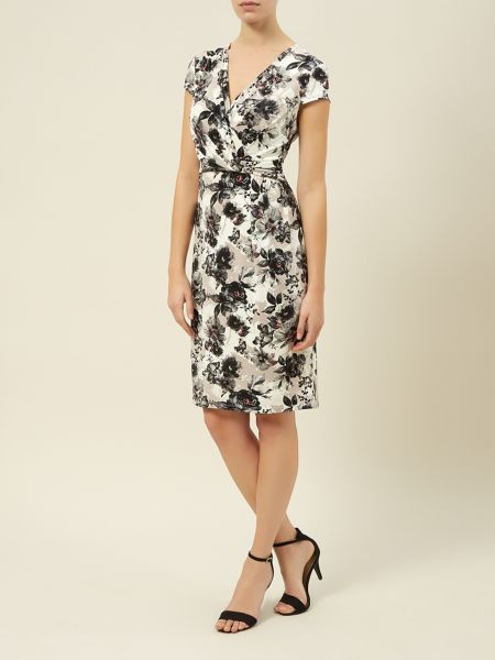 Kaliko Floral Print Tuck V Neck Dress