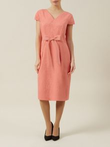 Coral jacquard bow dress