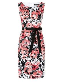 Pique floral shift dress