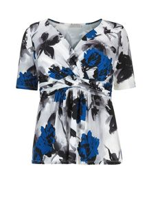 Plus Size Royal Blue Printed Top