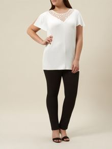 Plus Size Ivory Jersey Lace Top