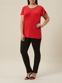 Plus Size Rouge Jersey Lace Top