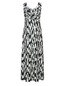 Plus Size Ikat Print Maxi Dress