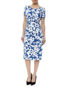 Blue And Ivory Print Dress