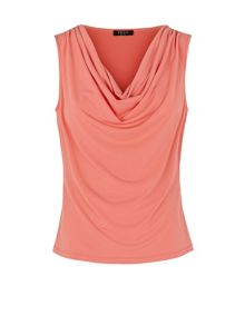 Crepe cowl neck jersey coral