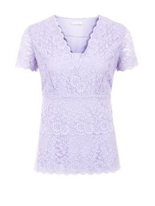 Tiered Lace Jersey Top