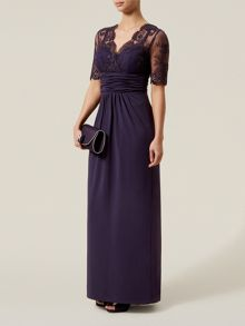 Embroidered Mesh Top Jersey Maxi Dress